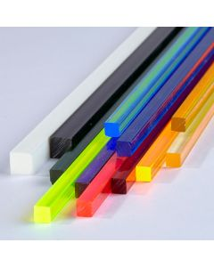 Coloured Square Extruded Acrylic Rods - 6.4mm Square
